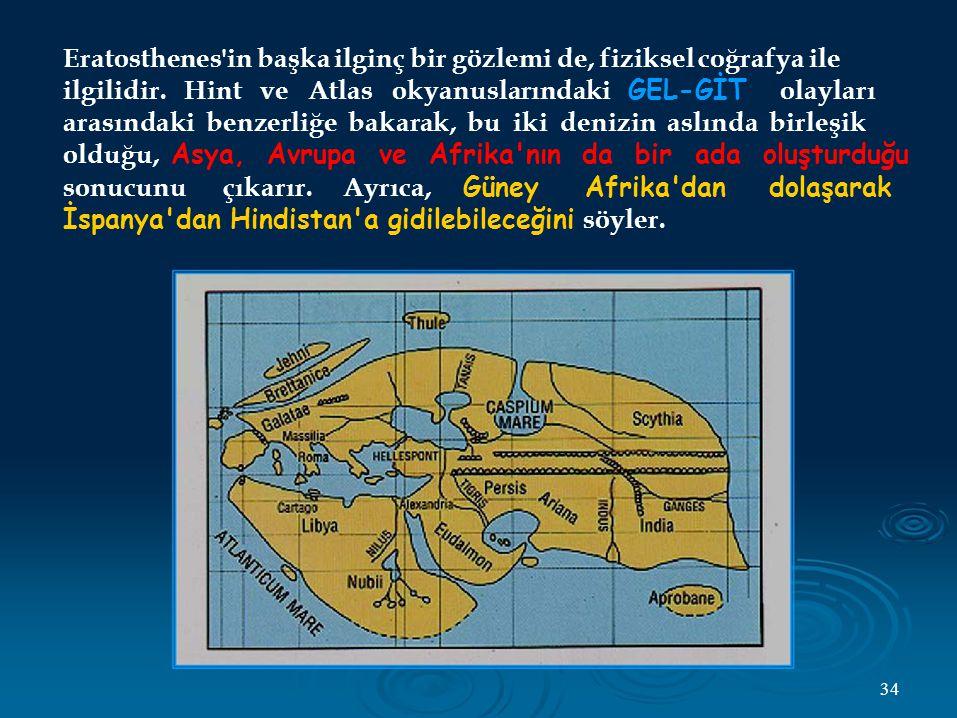 Eratosthenes in başka ilginç bir gözlemi de, fiziksel coğrafya ile ilgilidir.