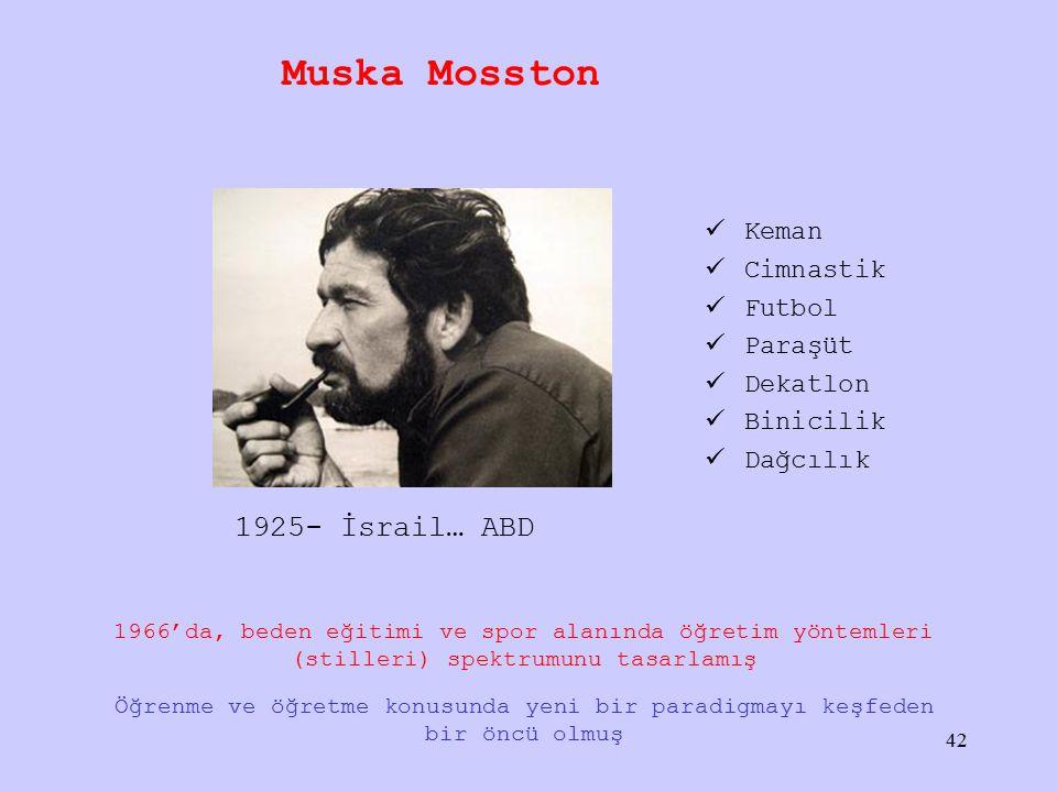 Muska Mosston 1925- İsrail… ABD Keman Cimnastik Futbol Paraşüt Dekatlon Binicilik Dağcılık Öğrenme ve öğretme konusunda yeni bir paradigmayı keşfeden bir öncü olmuş 1966'da, beden eğitimi ve spor alanında öğretim yöntemleri (stilleri) spektrumunu tasarlamış 42