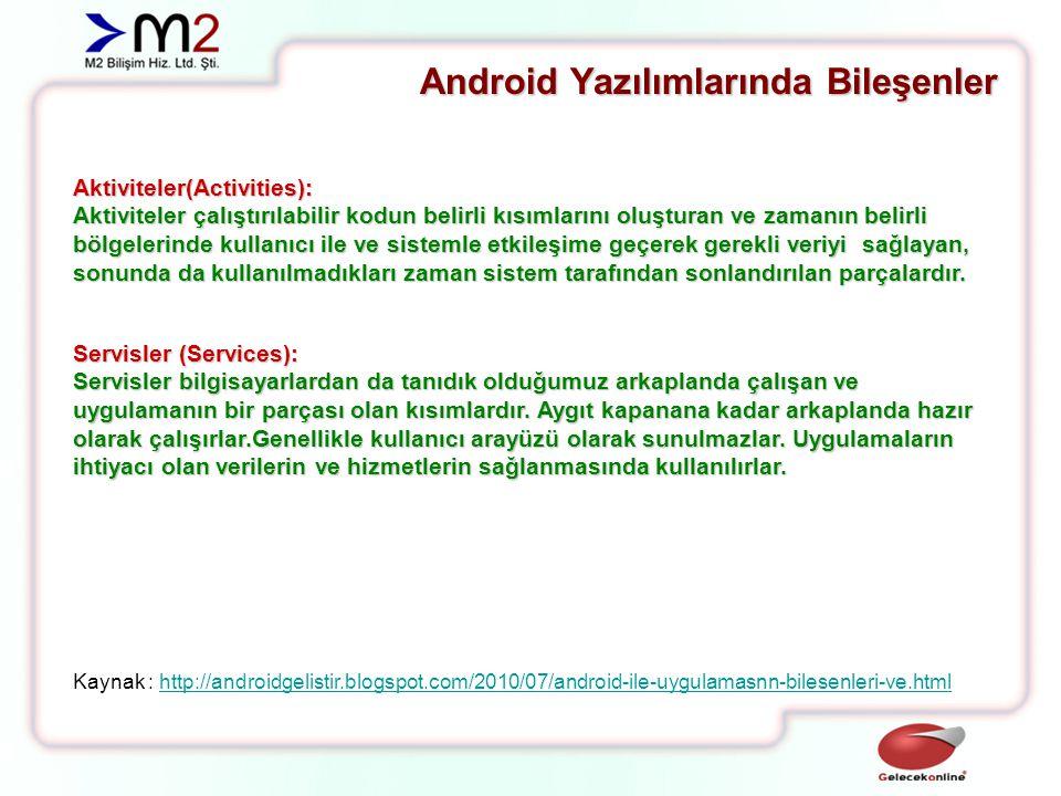 Android Yazılımlarında Bileşenler Aktiviteler(Activities): Aktiviteler çalıştırılabilir kodun belirli kısımlarını oluşturan ve zamanın belirli bölgelerinde kullanıcı ile ve sistemle etkileşime geçerek gerekli veriyi sağlayan, sonunda da kullanılmadıkları zaman sistem tarafından sonlandırılan parçalardır.