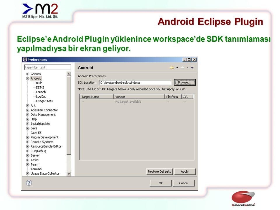 Android Eclipse Plugin Eclipse'e Android Plugin yüklenince workspace'de SDK tanımlaması yapılmadıysa bir ekran geliyor.