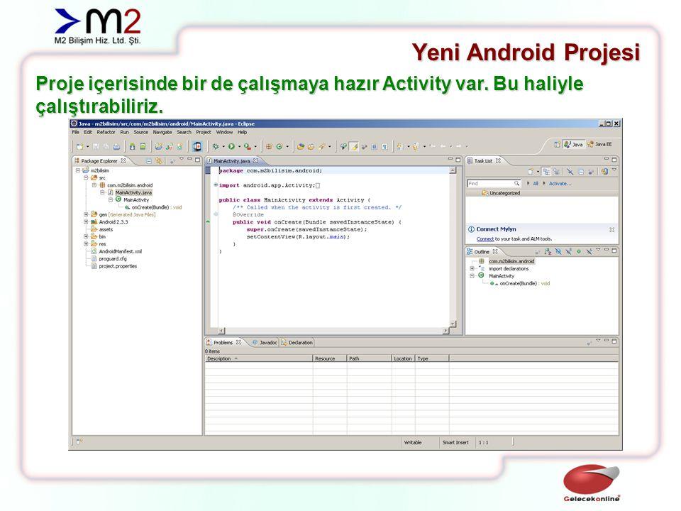 Yeni Android Projesi Proje içerisinde bir de çalışmaya hazır Activity var.