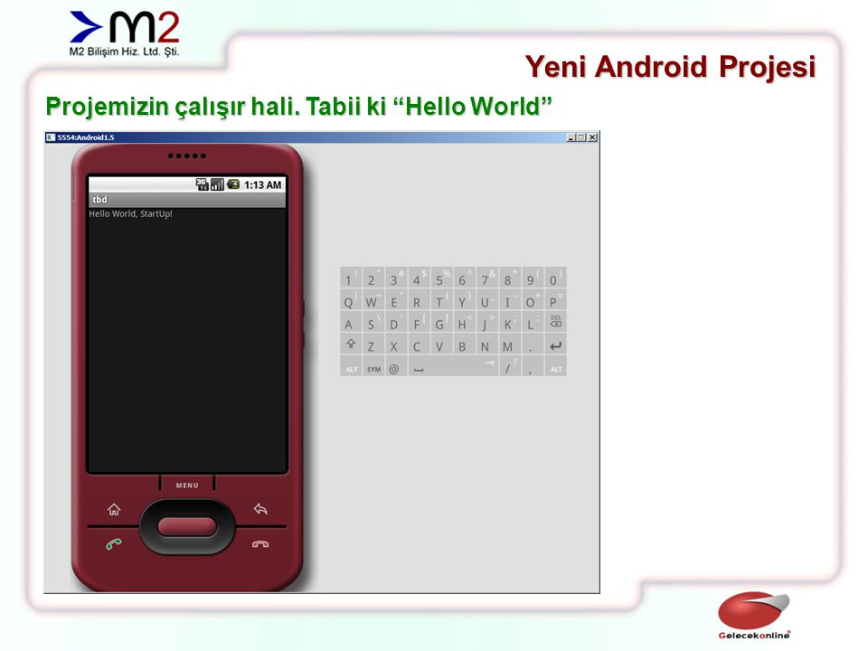 Yeni Android Projesi Projemizin çalışır hali. Tabii ki Hello World