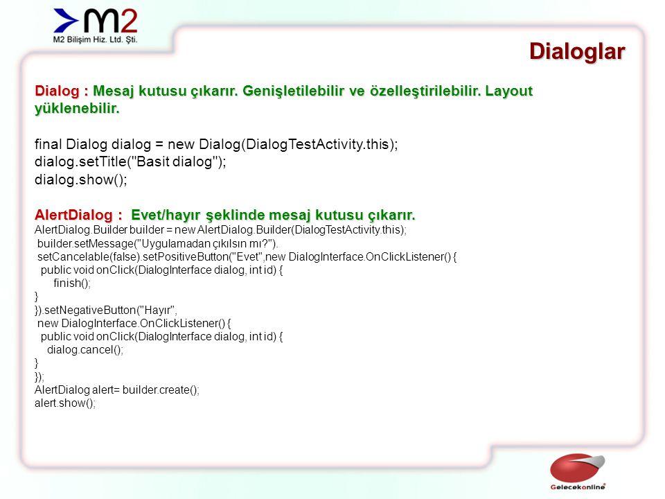 Dialoglar Dialog : Mesaj kutusu çıkarır.Genişletilebilir ve özelleştirilebilir.
