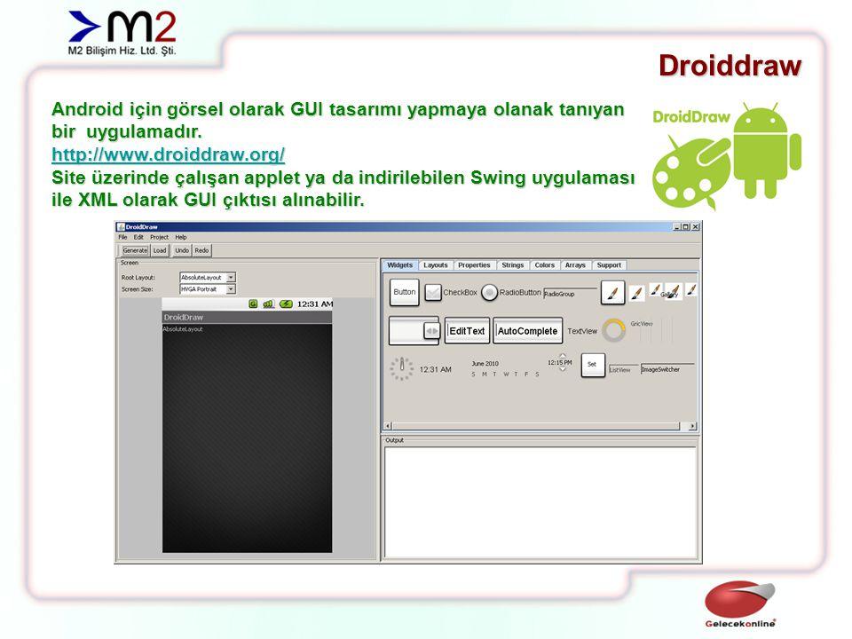 Droiddraw Android için görsel olarak GUI tasarımı yapmaya olanak tanıyan bir uygulamadır.