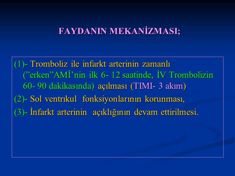 """FAYDANIN MEKANİZMASI; FAYDANIN MEKANİZMASI; (1)- Tromboliz ile infarkt arterinin zamanlı (""""erken""""AMİ'nin ilk 6- 12 saatinde, İV Trombolizin 60- 90 dak"""
