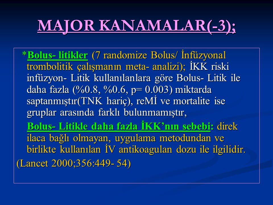 MAJOR KANAMALAR(-3); *Bolus- litikler (7 randomize Bolus/ İnfüzyonal trombolitik çalışmanın meta- analizi); İKK riski infüzyon- Litik kullanılanlara g