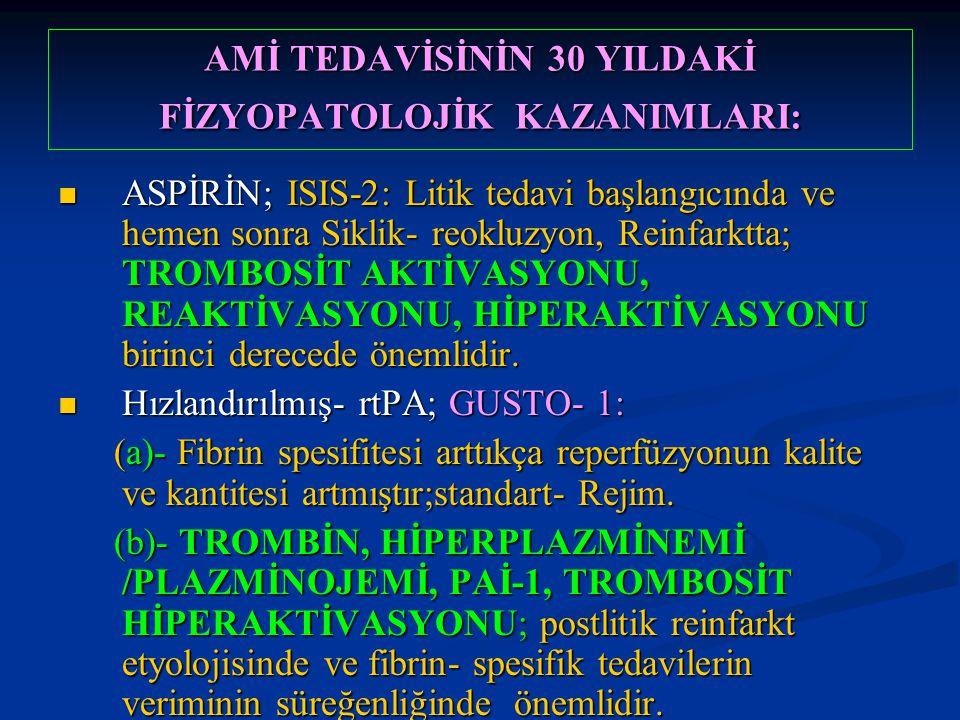 AMİ TEDAVİSİNİN 30 YILDAKİ FİZYOPATOLOJİK KAZANIMLARI: ASPİRİN; ISIS-2: Litik tedavi başlangıcında ve hemen sonra Siklik- reokluzyon, Reinfarktta; TRO