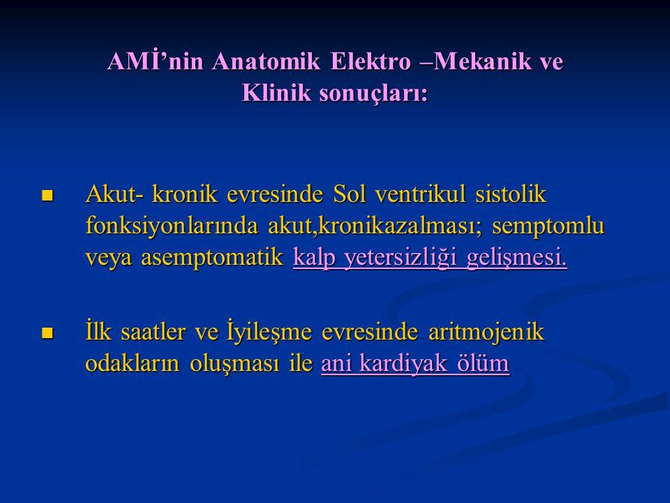 AMİ'nin Anatomik Elektro –Mekanik ve Klinik sonuçları: Akut- kronik evresinde Sol ventrikul sistolik fonksiyonlarında akut,kronikazalması; semptomlu v