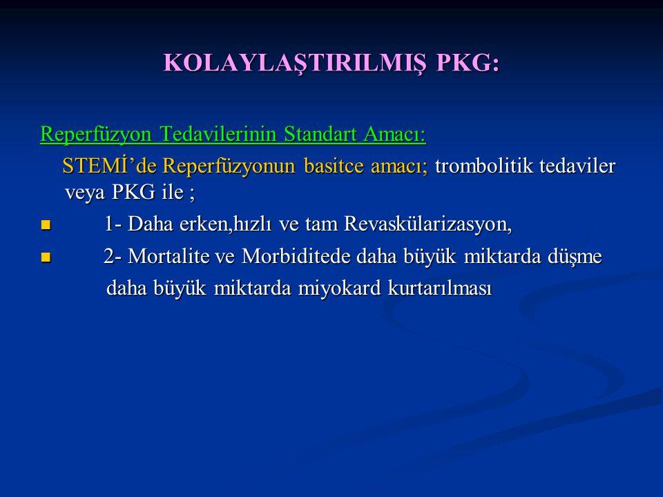 KOLAYLAŞTIRILMIŞ PKG: Reperfüzyon Tedavilerinin Standart Amacı: STEMİ'de Reperfüzyonun basitce amacı; trombolitik tedaviler veya PKG ile ; STEMİ'de Re