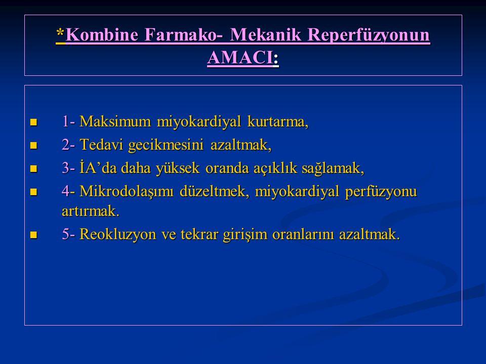 *Kombine Farmako- Mekanik Reperfüzyonun AMACI: 1- Maksimum miyokardiyal kurtarma, 1- Maksimum miyokardiyal kurtarma, 2- Tedavi gecikmesini azaltmak, 2