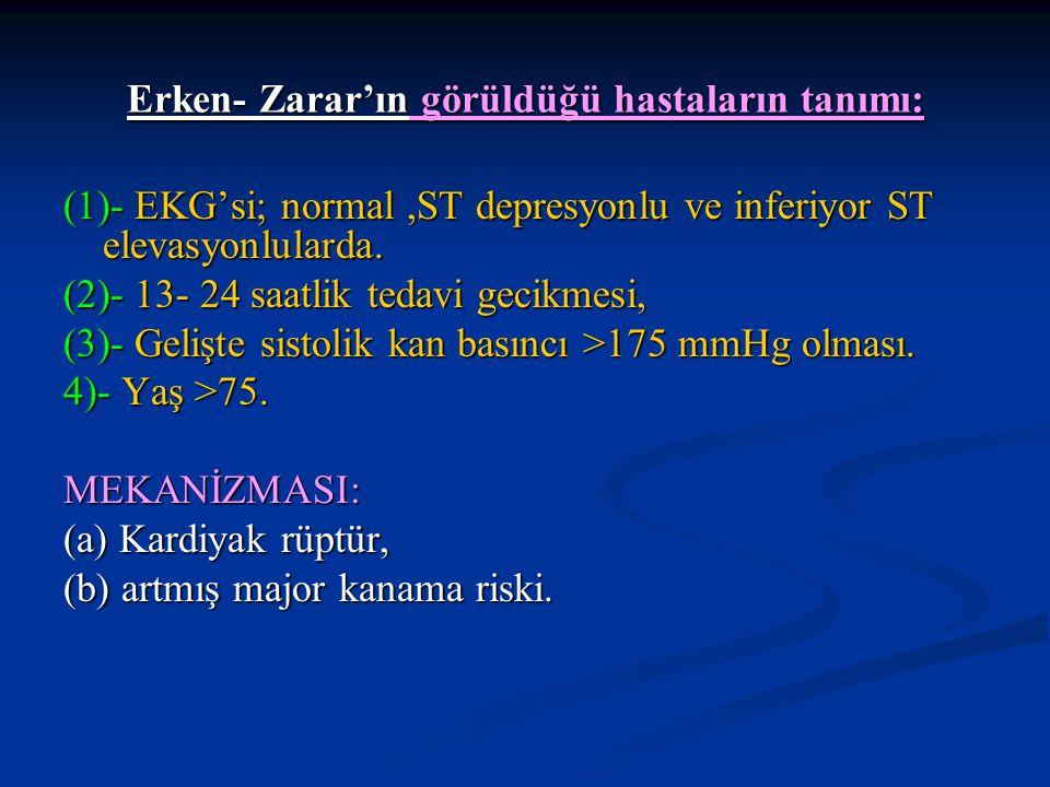 ERKEN ZARAR: *Yukarıdaki AMİ hastalarında görülen Erken zarar(0- 1günde): trombolitik tedavinin sonraki günlerdeki sağladığı fayda sonucunda; *ST depresyon veya normal EKG'liler hariç diğer gruplarda 0-35 günde kaybolmaktadır.
