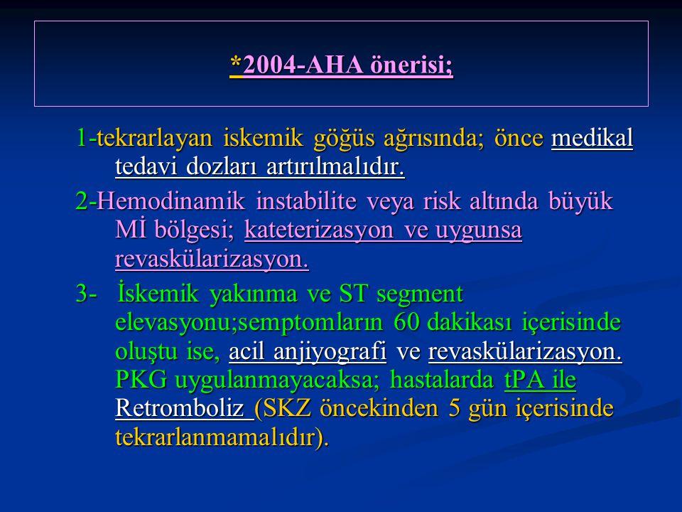*2004-AHA önerisi; 1-tekrarlayan iskemik göğüs ağrısında; önce medikal tedavi dozları artırılmalıdır. 2-Hemodinamik instabilite veya risk altında büyü