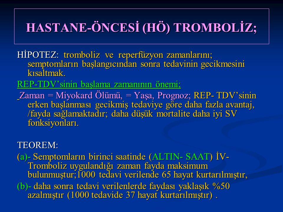 HASTANE-ÖNCESİ (HÖ) TROMBOLİZ; HİPOTEZ: tromboliz ve reperfüzyon zamanlarını; semptomların başlangıcından sonra tedavinin gecikmesini kısaltmak. REP-T