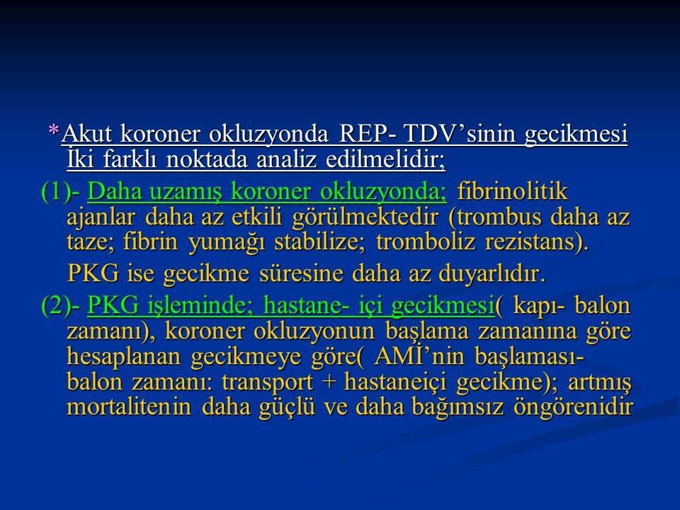 *Akut koroner okluzyonda REP- TDV'sinin gecikmesi İki farklı noktada analiz edilmelidir; *Akut koroner okluzyonda REP- TDV'sinin gecikmesi İki farklı