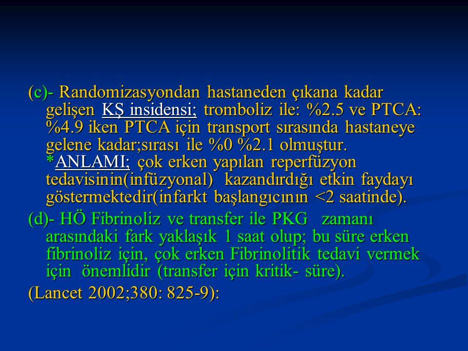 (c)- Randomizasyondan hastaneden çıkana kadar gelişen KŞ insidensi; tromboliz ile: %2.5 ve PTCA: %4.9 iken PTCA için transport sırasında hastaneye gel