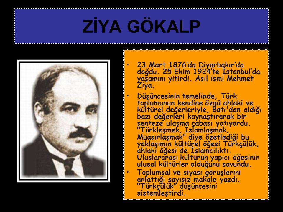 23 Mart 1876'da Diyarbakır'da doğdu. 25 Ekim 1924'te İstanbul'da yaşamını yitirdi. Asıl ismi Mehmet Ziya. Düşüncesinin temelinde, Türk toplumunun kend