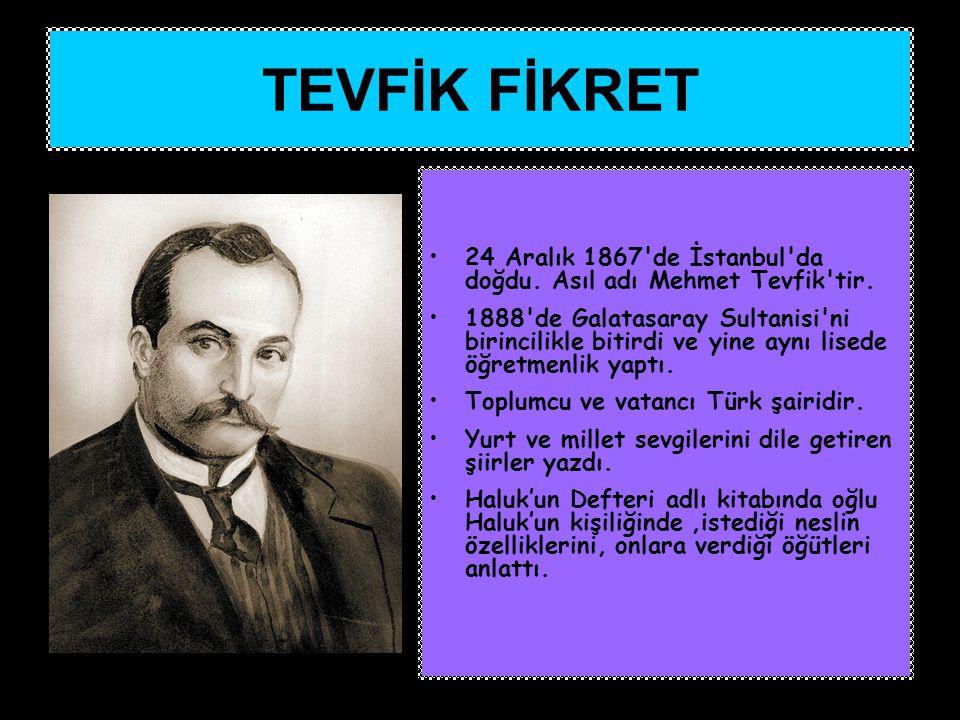 24 Aralık 1867'de İstanbul'da doğdu. Asıl adı Mehmet Tevfik'tir. 1888'de Galatasaray Sultanisi'ni birincilikle bitirdi ve yine aynı lisede öğretmenlik