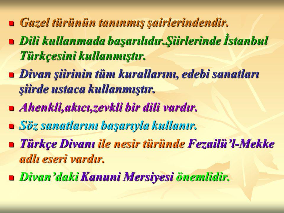 Gazel türünün tanınmış şairlerindendir. Gazel türünün tanınmış şairlerindendir. Dili kullanmada başarılıdır.Şiirlerinde İstanbul Türkçesini kullanmışt