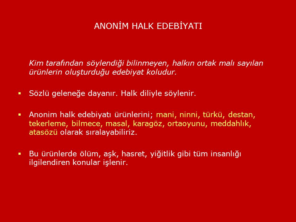 ÖSYS'DE ANONİM HALK EDEBİYATI