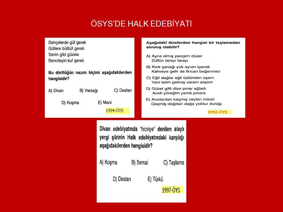 ÖSYS'DE HALK EDEBİYATI