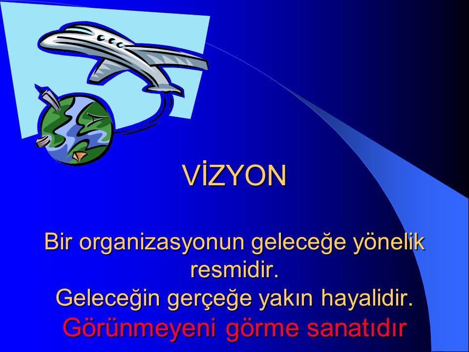 VİZYON Bir organizasyonun geleceğe yönelik resmidir.