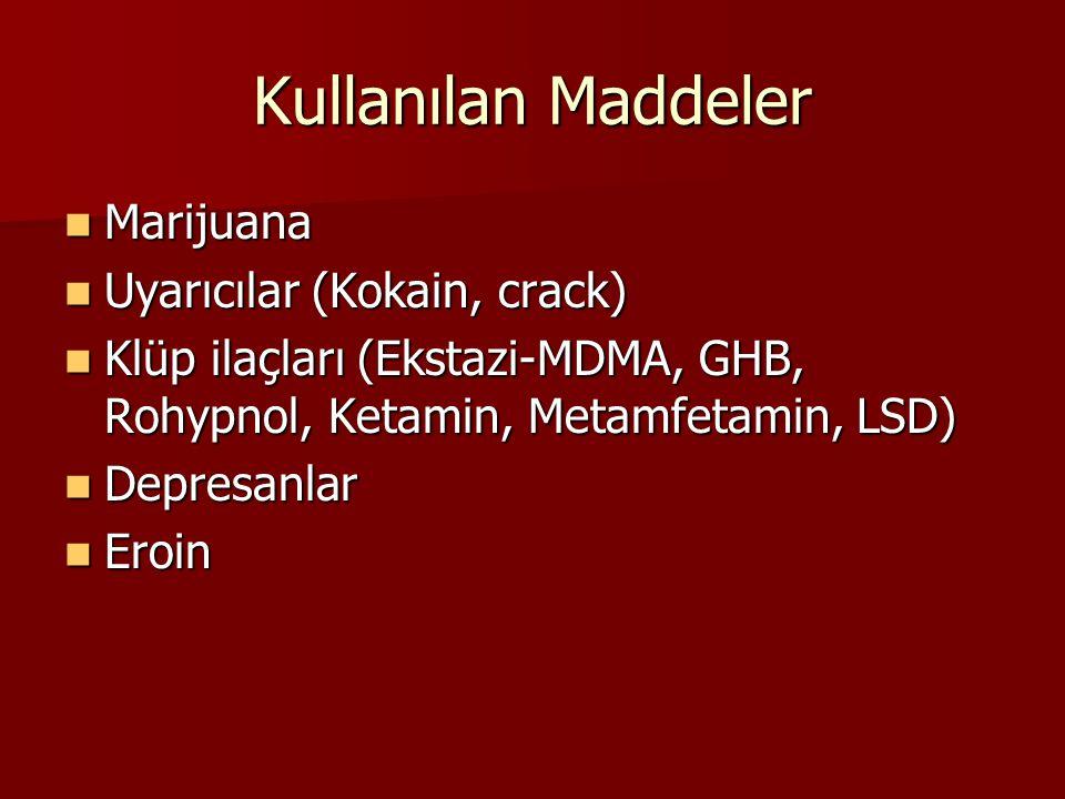 Kullanılan Maddeler Marijuana Marijuana Uyarıcılar (Kokain, crack) Uyarıcılar (Kokain, crack) Klüp ilaçları (Ekstazi-MDMA, GHB, Rohypnol, Ketamin, Metamfetamin, LSD) Klüp ilaçları (Ekstazi-MDMA, GHB, Rohypnol, Ketamin, Metamfetamin, LSD) Depresanlar Depresanlar Eroin Eroin