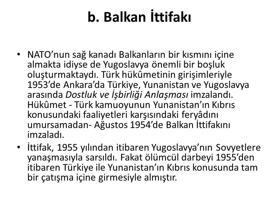 b. Balkan İttifakı NATO'nun sağ kanadı Balkanların bir kısmını içine almakta idiyse de Yugoslavya önemli bir boşluk oluşturmaktaydı. Türk hükûmetinin