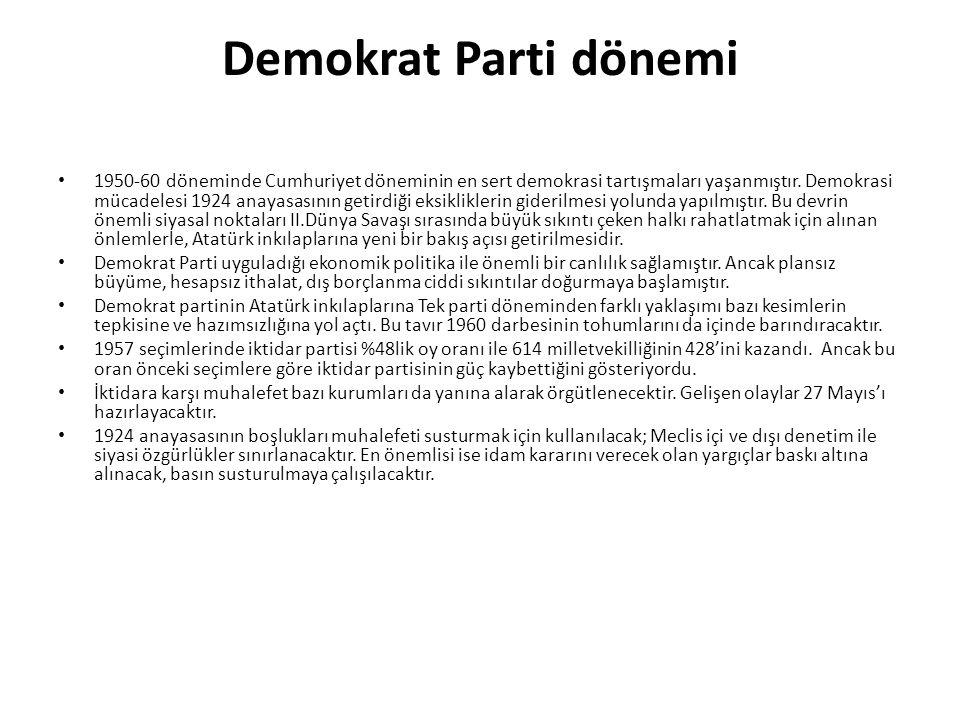 Demokrat Parti dönemi 1950-60 döneminde Cumhuriyet döneminin en sert demokrasi tartışmaları yaşanmıştır. Demokrasi mücadelesi 1924 anayasasının getird