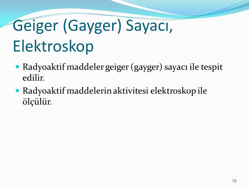 Geiger (Gayger) Sayacı, Elektroskop Radyoaktif maddeler geiger (gayger) sayacı ile tespit edilir. Radyoaktif maddelerin aktivitesi elektroskop ile ölç