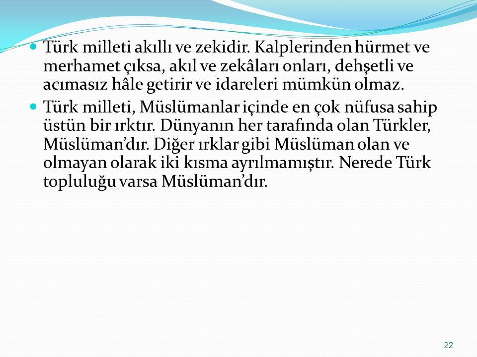 Türk milleti akıllı ve zekidir. Kalplerinden hürmet ve merhamet çıksa, akıl ve zekâları onları, dehşetli ve acımasız hâle getirir ve idareleri mümkün