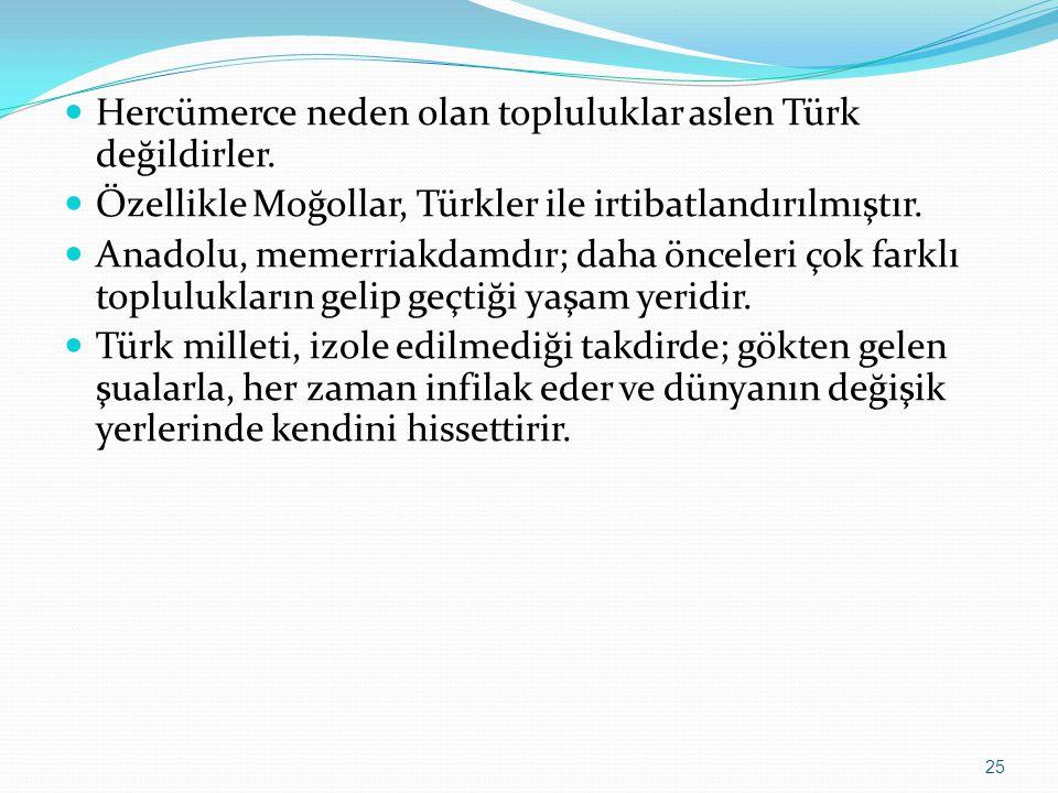 Hercümerce neden olan topluluklar aslen Türk değildirler. Özellikle Moğollar, Türkler ile irtibatlandırılmıştır. Anadolu, memerriakdamdır; daha öncele