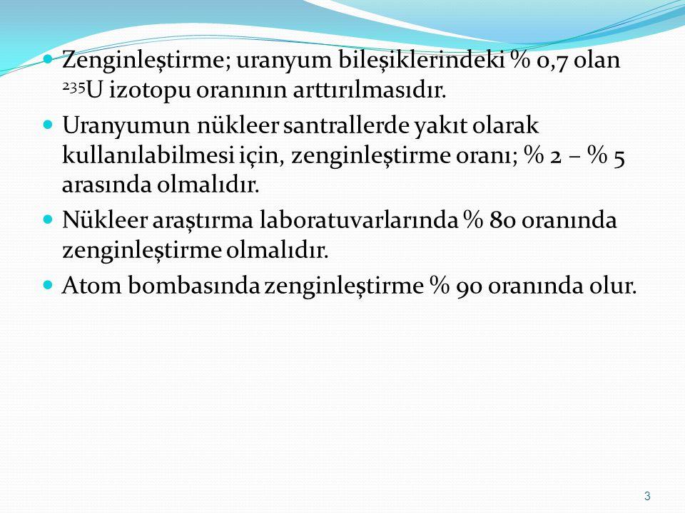 DOĞAL URANYUM BİLEŞİKLERİ U 3 O 8 (UO 2 +2U 3 O 8 ) UCl 4 UF 6 UCl 6 KUF 5 UO 2 UO 3 UF 5 4