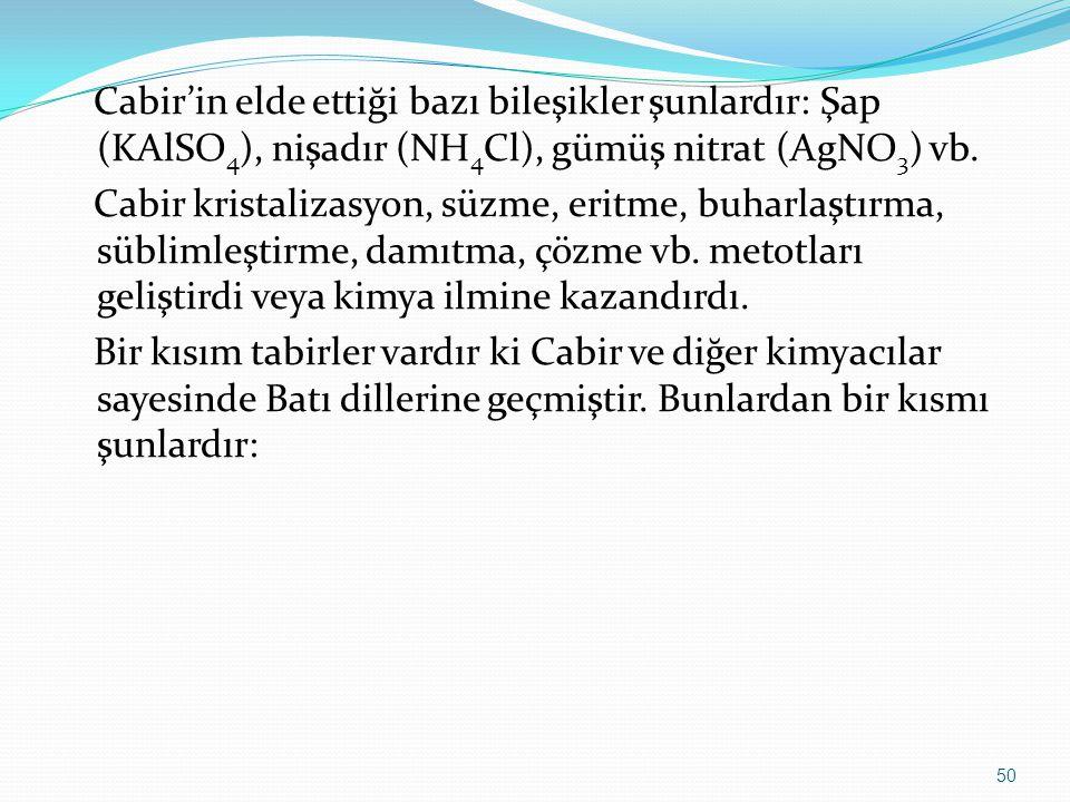 Cabir'in elde ettiği bazı bileşikler şunlardır: Şap (KAlSO 4 ), nişadır (NH 4 Cl), gümüş nitrat (AgNO 3 ) vb. Cabir kristalizasyon, süzme, eritme, buh