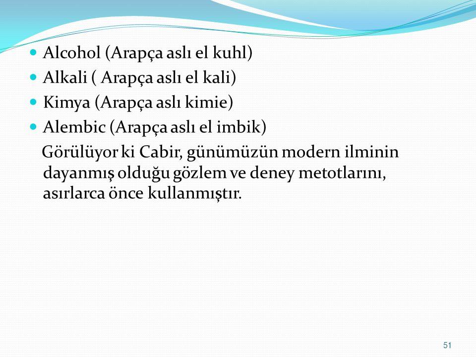 Alcohol (Arapça aslı el kuhl) Alkali ( Arapça aslı el kali) Kimya (Arapça aslı kimie) Alembic (Arapça aslı el imbik) Görülüyor ki Cabir, günümüzün modern ilminin dayanmış olduğu gözlem ve deney metotlarını, asırlarca önce kullanmıştır.
