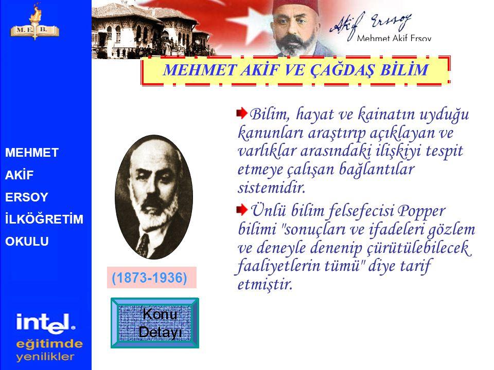 MEHMET AKİF ERSOY İLKÖĞRETİM OKULU Türk, şair. İstiklal Marşı'mızın yazarı. İstanbul'da doğdu, 27 Aralık 1936'da aynı kentte öldü. Bir medrese hocası