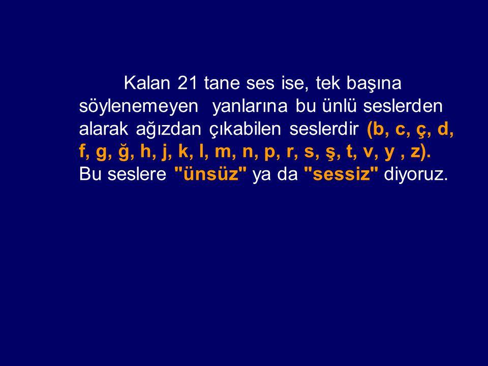 Kalan 21 tane ses ise, tek başına söylenemeyen yanlarına bu ünlü seslerden alarak ağızdan çıkabilen seslerdir (b, c, ç, d, f, g, ğ, h, j, k, l, m, n,
