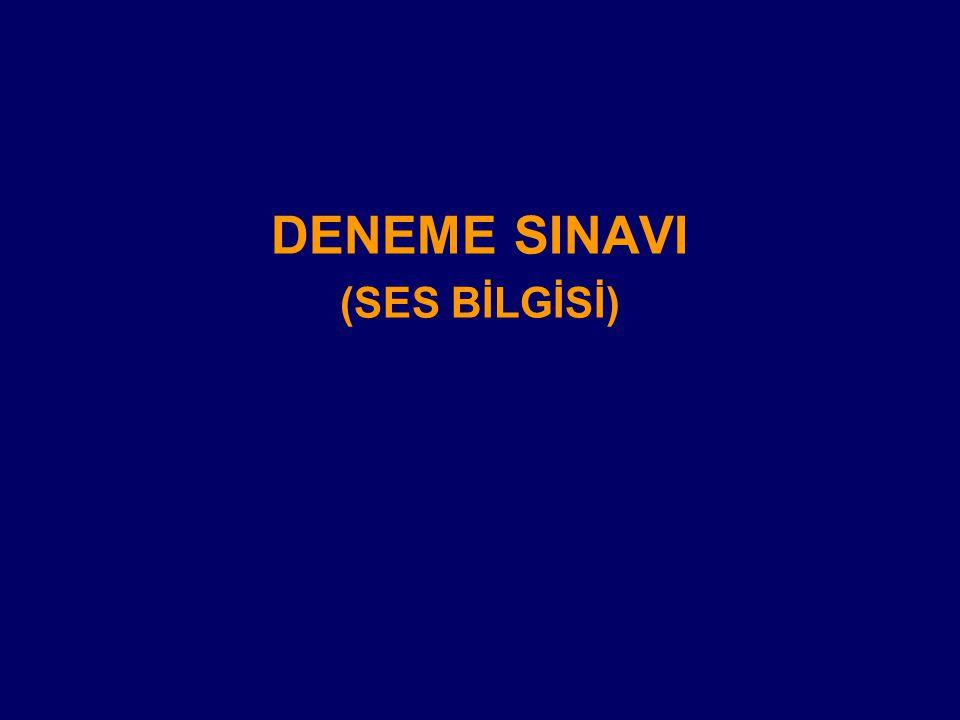 DENEME SINAVI (SES BİLGİSİ)