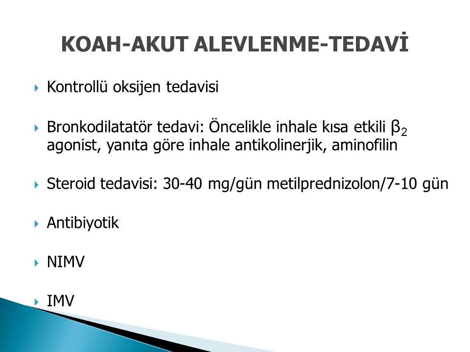 Kontrollü oksijen tedavisi  Bronkodilatatör tedavi: Öncelikle inhale kısa etkili β 2 agonist, yanıta göre inhale antikolinerjik, aminofilin  Stero