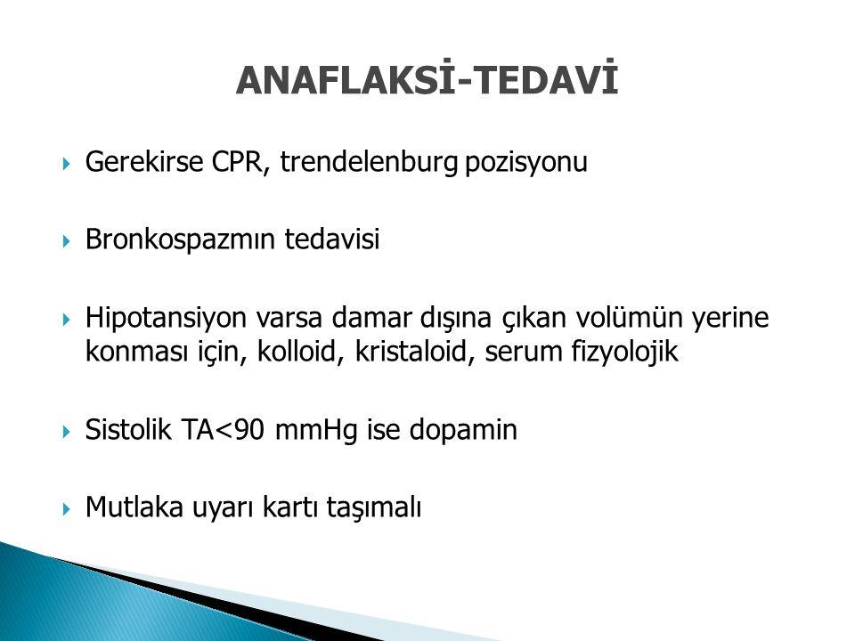  Gerekirse CPR, trendelenburg pozisyonu  Bronkospazmın tedavisi  Hipotansiyon varsa damar dışına çıkan volümün yerine konması için, kolloid, krista