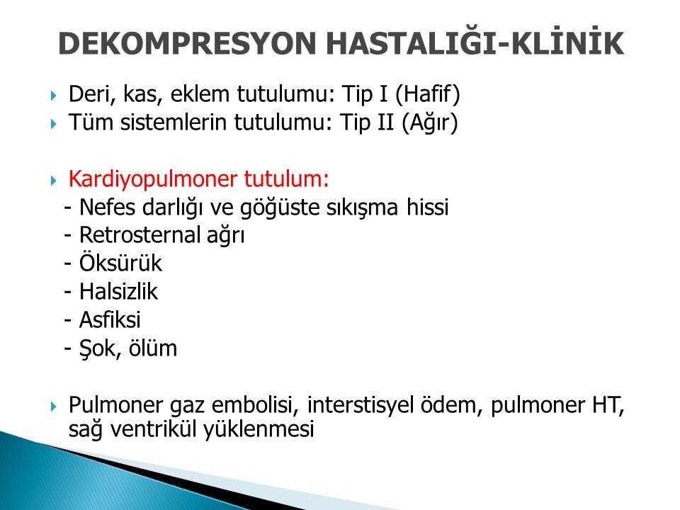 Deri, kas, eklem tutulumu: Tip I (Hafif)  Tüm sistemlerin tutulumu: Tip II (Ağır)  Kardiyopulmoner tutulum: - Nefes darlığı ve göğüste sıkışma his