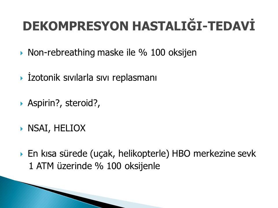  Non-rebreathing maske ile % 100 oksijen  İzotonik sıvılarla sıvı replasmanı  Aspirin?, steroid?,  NSAI, HELIOX  En kısa sürede (uçak, helikopter