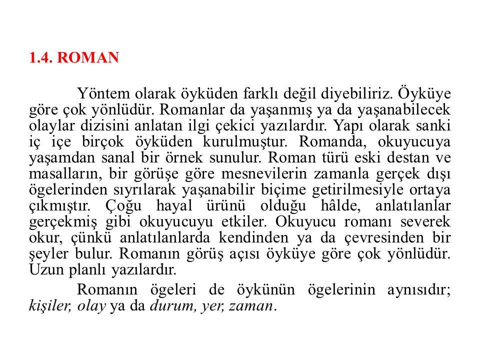 1.4. ROMAN Yöntem olarak öyküden farklı değil diyebiliriz. Öyküye göre çok yönlüdür. Romanlar da yaşanmış ya da yaşanabilecek olaylar dizisini anlatan