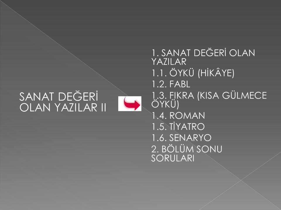 1.SANAT DEĞERİ OLAN YAZILAR 1.1.