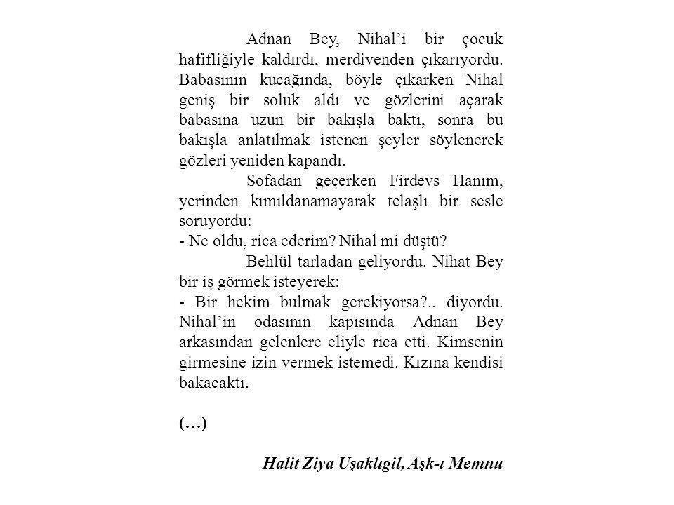 Adnan Bey, Nihal'i bir çocuk hafifliğiyle kaldırdı, merdivenden çıkarıyordu. Babasının kucağında, böyle çıkarken Nihal geniş bir soluk aldı ve gözleri
