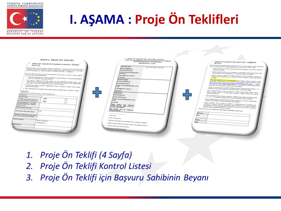 I. AŞAMA : Proje Ön Teklifleri 1.Proje Ön Teklifi (4 Sayfa) 2.Proje Ön Teklifi Kontrol Listesi 3.Proje Ön Teklifi için Başvuru Sahibinin Beyanı