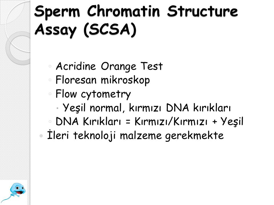 Sperm Chromatin Structure Assay (SCSA) ◦ Acridine Orange Test ◦ Floresan mikroskop ◦ Flow cytometry  Yeşil normal, kırmızı DNA kırıkları ◦ DNA Kırıkl