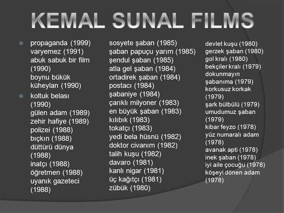  propaganda (1999) varyemez (1991) abuk sabuk bir film (1990) boynu bükük küheylan (1990)  koltuk belası (1990) gülen adam (1989) zehir hafiye (1989