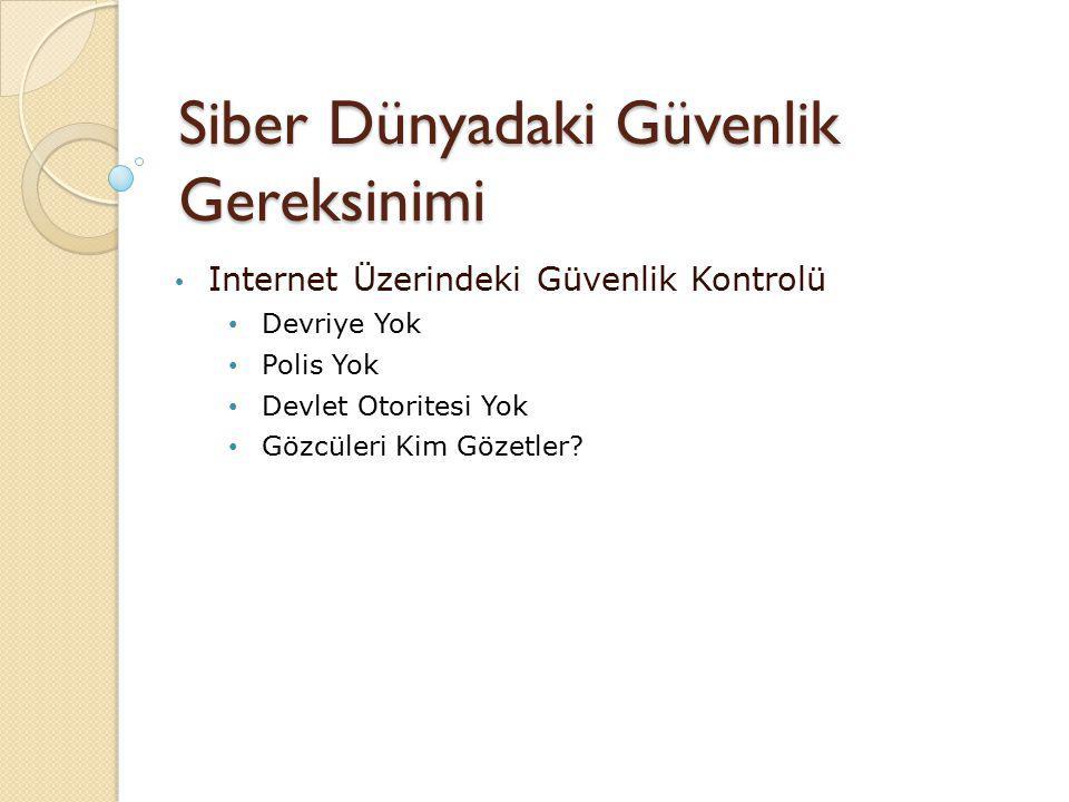 Siber Dünyadaki Güvenlik Gereksinimi Internet Üzerindeki Güvenlik Kontrolü Devriye Yok Polis Yok Devlet Otoritesi Yok Gözcüleri Kim Gözetler?
