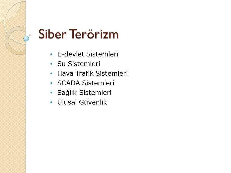 Siber Terörizm E-devlet Sistemleri Su Sistemleri Hava Trafik Sistemleri SCADA Sistemleri Sağlık Sistemleri Ulusal Güvenlik