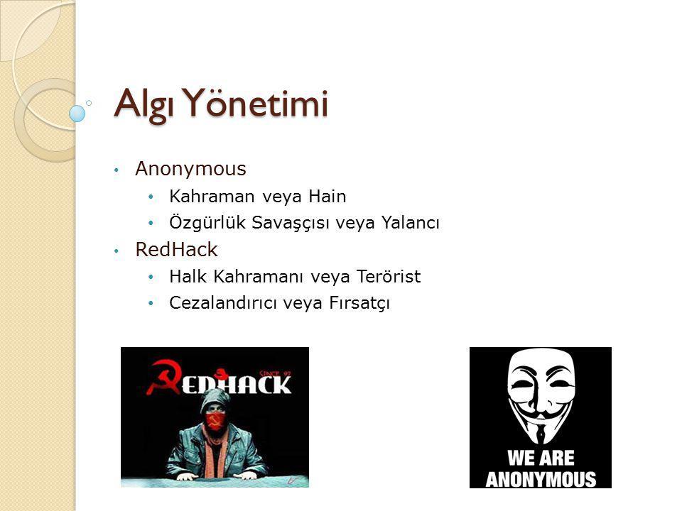 Algı Yönetimi Anonymous Kahraman veya Hain Özgürlük Savaşçısı veya Yalancı RedHack Halk Kahramanı veya Terörist Cezalandırıcı veya Fırsatçı